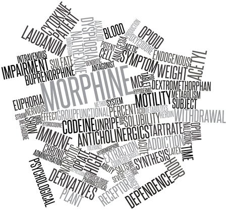 endogenous: Abstract word cloud for Morphine with related tags and terms Stock Photo