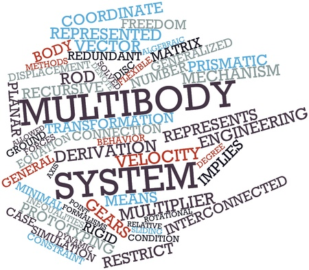 generalized: Abstract word cloud for Multibody system with related tags and terms Stock Photo