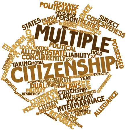 treaties: Abstract word cloud for Multiple citizenship with related tags and terms