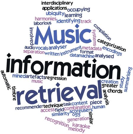 Abstract word cloud for Music information retrieval with related tags and terms Stock Photo - 17319506