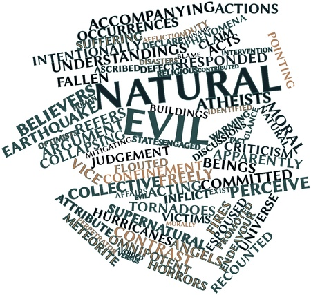 ascribed: Abstract word cloud for Natural evil with related tags and terms Stock Photo