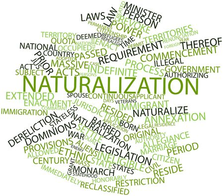 Abstract word cloud for Naturalization with related tags and terms Stock Photo - 17306827