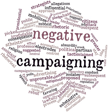 turnout: Abstract word cloud for Negative campaigning with related tags and terms