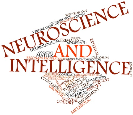 correlate: Abstract word cloud for Neuroscience and intelligence with related tags and terms Stock Photo