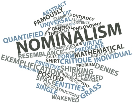 critique: Abstract word cloud for Nominalism with related tags and terms Stock Photo