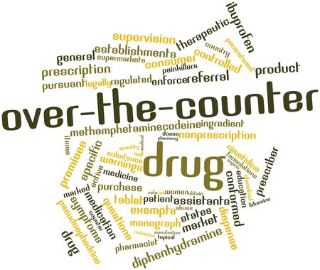 monograph: Abstract word cloud for Over-the-counter drug with related tags and terms