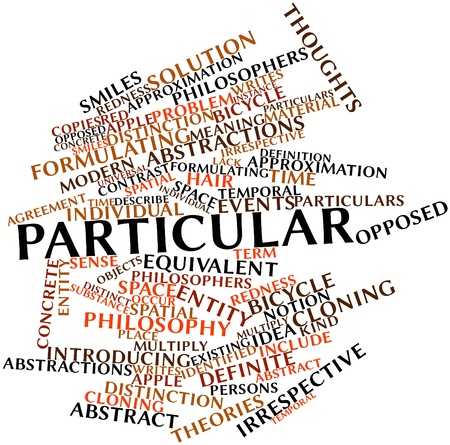 philosophers: Abstract word cloud for Particular with related tags and terms Stock Photo