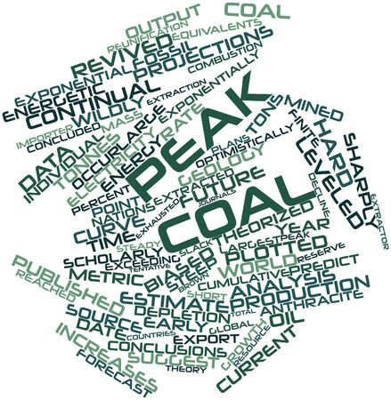finite: Abstract word cloud for Peak coal with related tags and terms Stock Photo