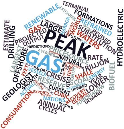 revised: Abstract word cloud for Peak gas with related tags and terms Stock Photo