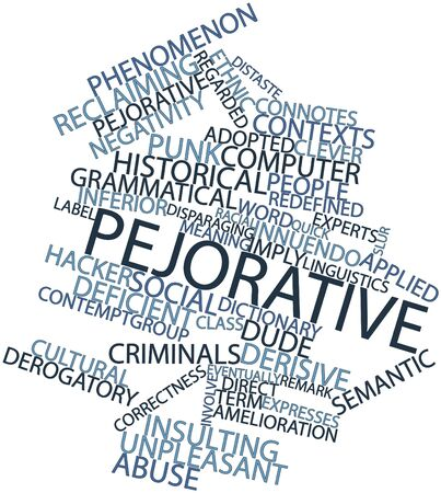 insulting: Abstract word cloud for Pejorative with related tags and terms Stock Photo