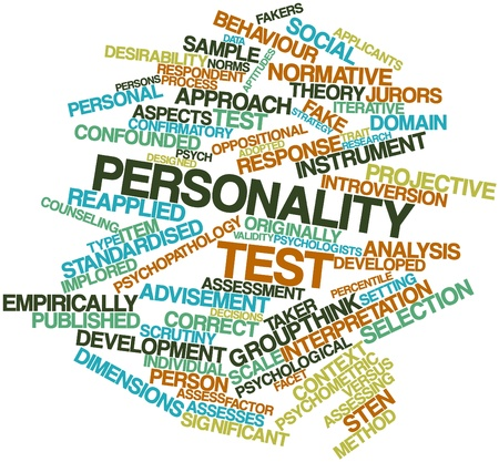 Abstract word cloud for Personality test with related tags and terms