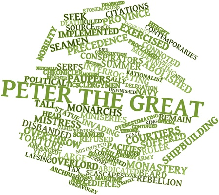 interrogating: Abstract word cloud for Peter the Great with related tags and terms Stock Photo