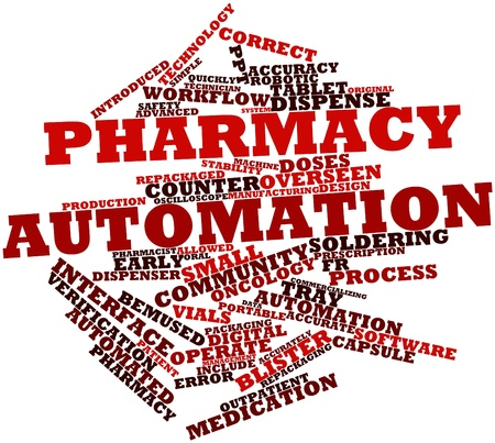 calibrated: Abstract word cloud for Pharmacy automation with related tags and terms