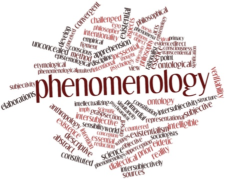 imply: Abstract word cloud for Phenomenology with related tags and terms Stock Photo