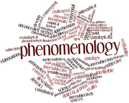 inteligible: Nube de palabras Resumen de Fenomenología con etiquetas y términos relacionados Foto de archivo