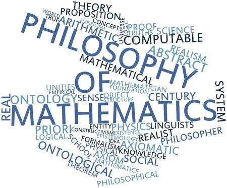 ontology: Abstract word cloud for Philosophy of mathematics with related tags and terms Stock Photo