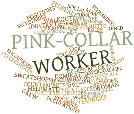 counterparts: Abstract word cloud for Pink-collar worker with related tags and terms Stock Photo