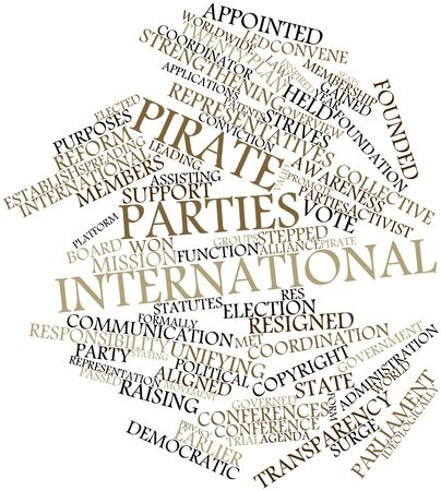 patents: Abstract word cloud for Pirate Parties International with related tags and terms Stock Photo