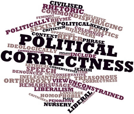 accusations: Abstract word cloud for Political correctness with related tags and terms Stock Photo