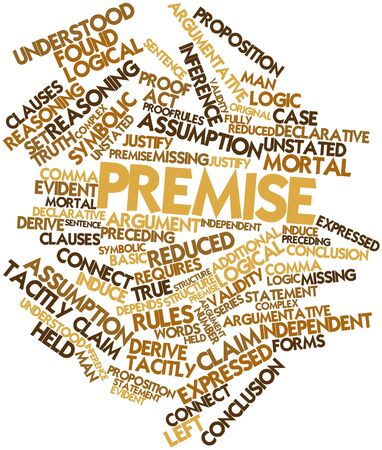 derive: Abstract word cloud for Premise with related tags and terms Stock Photo