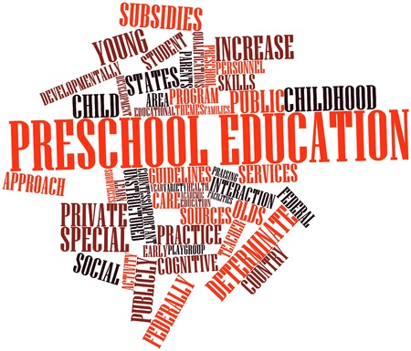 reparations: Abstract word cloud for Preschool education with related tags and terms