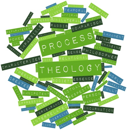 experiential: Abstract word cloud for Process theology with related tags and terms Stock Photo