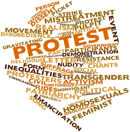 Abstract word cloud for Protest with related tags and terms Stock Photo - 17319648