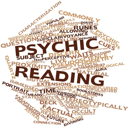 psychic: Abstract word cloud for Psychic reading with related tags and terms Stock Photo