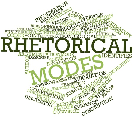 identifies: Abstract word cloud for Rhetorical modes with related tags and terms