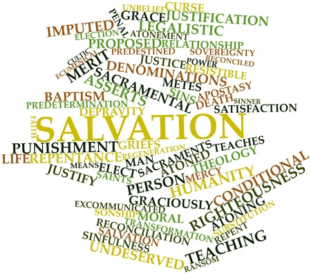 sacramental: Abstract word cloud for Salvation with related tags and terms Stock Photo