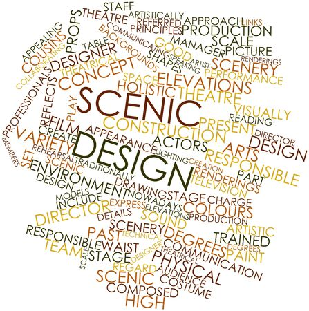 renderings: Abstract word cloud for Scenic design with related tags and terms Stock Photo