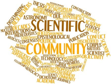 alleged: Abstract word cloud for Scientific community with related tags and terms