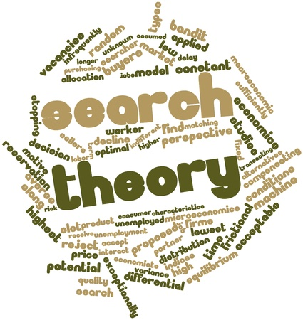 macroeconomic: Abstract word cloud for Search theory with related tags and terms