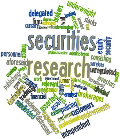 equity: Abstract word cloud for Securities research with related tags and terms