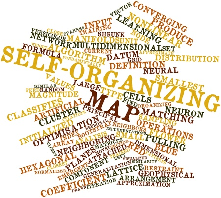 Abstract word cloud for Self-organizing map with related tags and terms