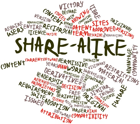 declare: Abstract word cloud for Share-alike with related tags and terms Stock Photo