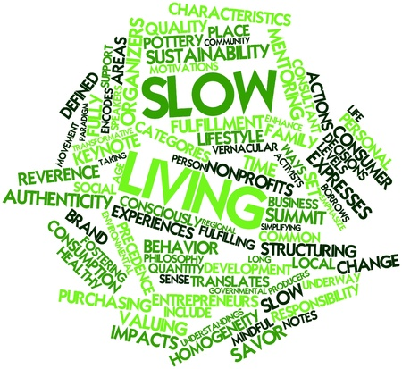 homogeneity: Abstract word cloud for Slow living with related tags and terms Stock Photo