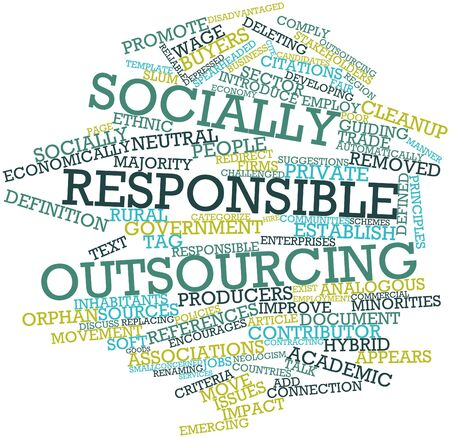 responsible: Abstract word cloud for Socially responsible outsourcing with related tags and terms Stock Photo