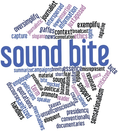 catchy: Abstract word cloud for Sound bite with related tags and terms Stock Photo