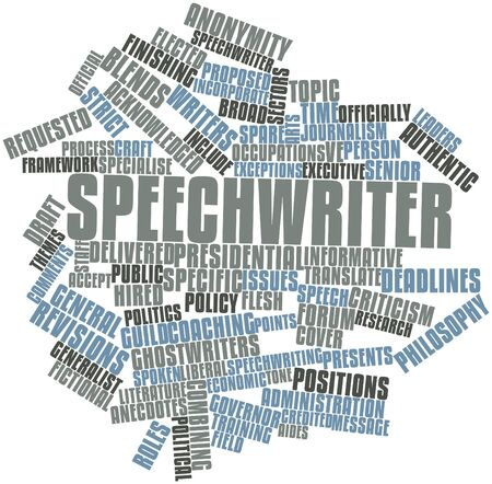 credited: Abstract word cloud for Speechwriter with related tags and terms