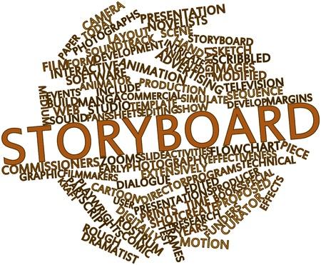 Abstraktes Wort-Wolke für Storyboard mit verwandten Tags und Begriffe