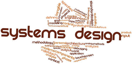 product design specification: Abstract word cloud for Systems design with related tags and terms