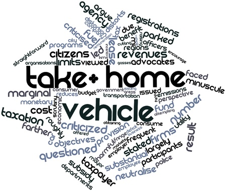 mayor: Abstract word cloud for Take-home vehicle with related tags and terms Stock Photo