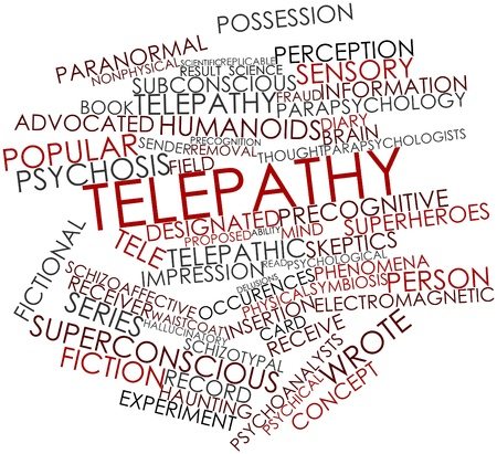 Abstract word cloud for Telepathy with related tags and terms Zdjęcie Seryjne
