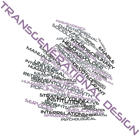 implications: Abstract word cloud for Transgenerational design with related tags and terms Stock Photo