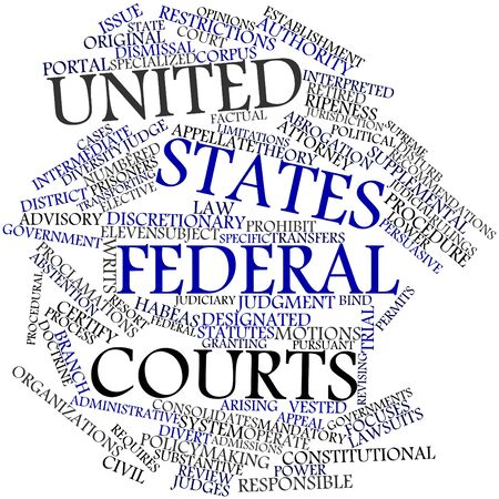 Abstract word cloud for United States federal courts with related tags and terms Stock Photo - 17320299