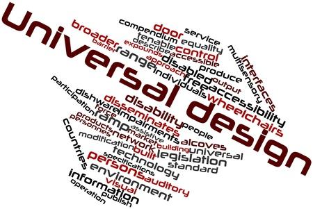 Abstrakte Wortwolke für Universal Design mit verwandte Tags und Begriffe