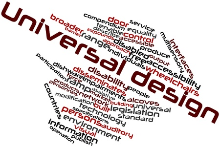 Abstract word cloud for Universal design with related tags and terms