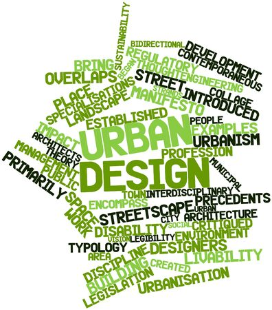 attested: Abstract word cloud for Urban design with related tags and terms