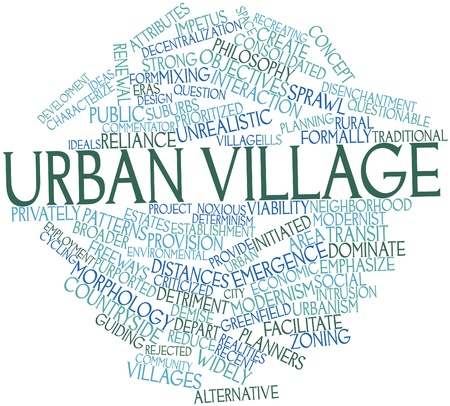 purported: Word cloud astratto per il villaggio urbano con tag correlati e termini